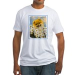Pomeranian in Daisies Fitted T-Shirt