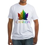 Canada Gay Pride Fitted T-Shirt Rainbow Maple Leaf