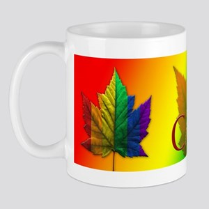 Canada Gay Pride Mug Coffee Cup Rainbow Leaf