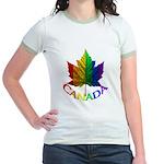 Canada Gay Pride Womens Jr. Ringer T-Shirt