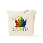 Canadian Gay Pride Tote Bag Rainbow Maple Leaf