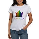 Canada Gay Pride Womens Rainbow Maple Leaf T-Shirt