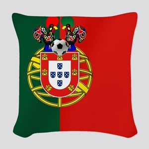 Portugal Football Flag Woven Throw Pillow