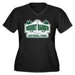 Mt Ranier NP Women's Plus Size V-Neck Dark T-Shirt