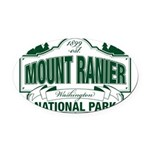 Mt Ranier NP Oval Car Magnet