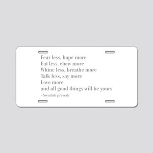 swedish-proverb-bod-gray Aluminum License Plate