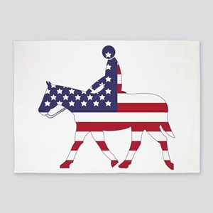 US Flag Horse 5'x7'Area Rug