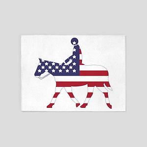 US Flag Horse 5'x7'Area Rug