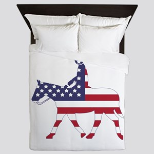 US Flag Horse Queen Duvet