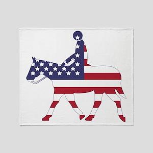 US Flag Horse Throw Blanket