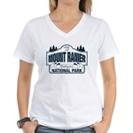 Mt Ranier NP Women's V-Neck T-Shirt