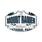 Mt Ranier NP Oval Car Magnet