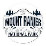 Mt Ranier NP Round Car Magnet