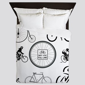 Bicycles May Use Full Lane Queen Duvet