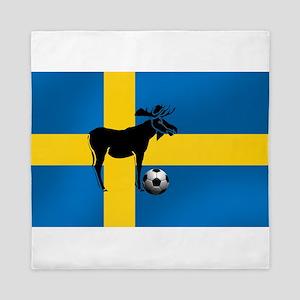 Swedish Soccer Elk Flag Queen Duvet