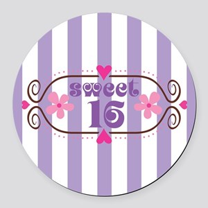Sweet 16 Sixteen Birthday Round Car Magnet