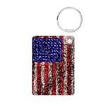 Van Gogh's Flag of the US Aluminum Photo Keychain