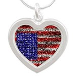 Van Gogh's Flag of the US Silver Heart Necklace