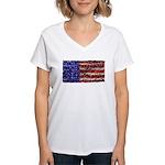 Van Gogh's Flag of the US Women's V-Neck T-Shirt