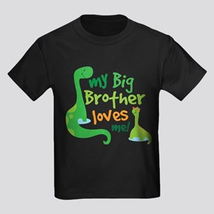 Big Brother Loves Me dinosaur Kids Dark T-Shirt
