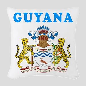 Guyana Coat Of Arms Designs Woven Throw Pillow
