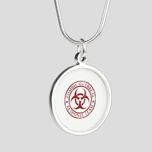Zombie Outbreak Response Team Silver Round Necklac
