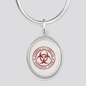Zombie Outbreak Response Team Silver Oval Necklace