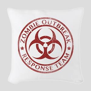 Zombie Outbreak Response Team Woven Throw Pillow