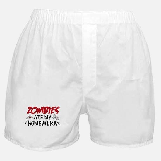 Zombie Ate My Homework Boxer Shorts