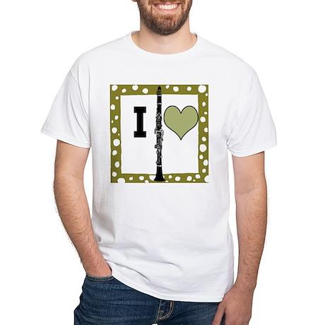 White T-Shirt I Love Clarinet