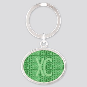 XC Run Run Green Oval Keychain