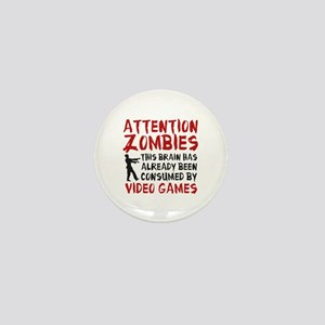 Attention Zombies Video Games Mini Button