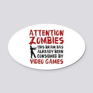 Attention Zombies Video Games Oval Car Magnet