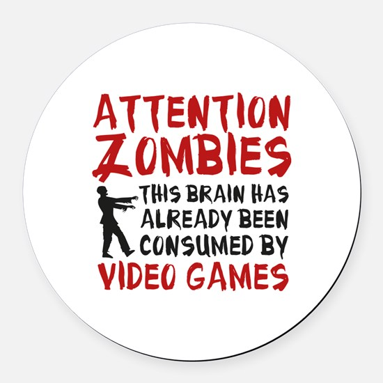 Attention Zombies Video Games Round Car Magnet