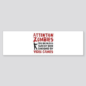 Attention Zombies Video Games Sticker (Bumper)