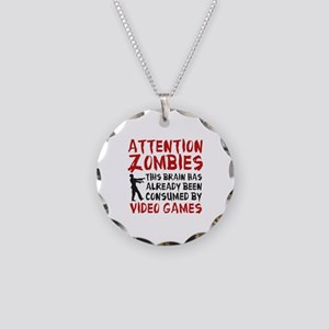 Attention Zombies Video Games Necklace Circle Char