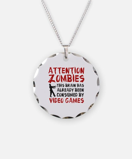 Attention Zombies Video Games Necklace