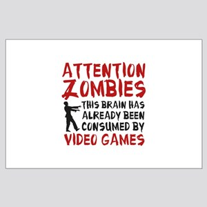 Attention Zombies Video Games Large Poster