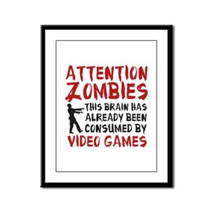 Attention Zombies Video Games Framed Panel Print
