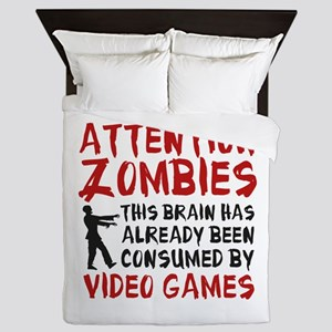 Attention Zombies Video Games Queen Duvet