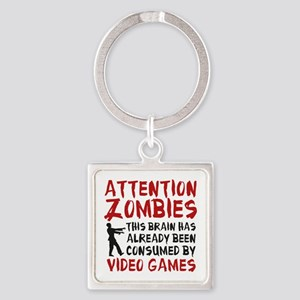 Attention Zombies Video Games Square Keychain