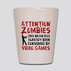 Attention Zombies Video Games Shot Glass