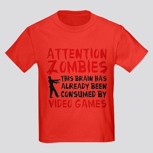 Attention Zombies Video Games Kids Dark T-Shirt