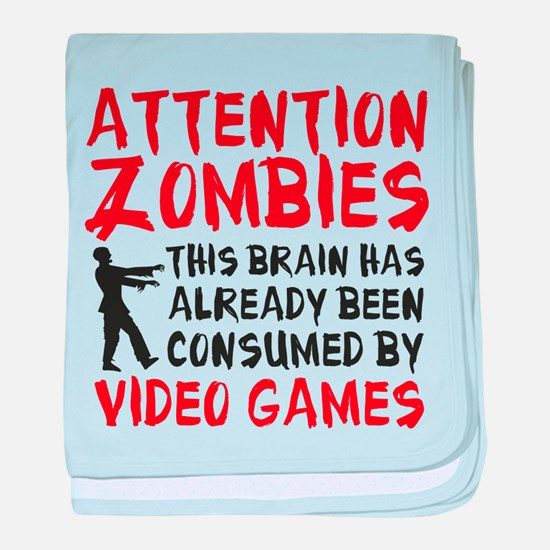 Attention Zombies Video Games baby blanket