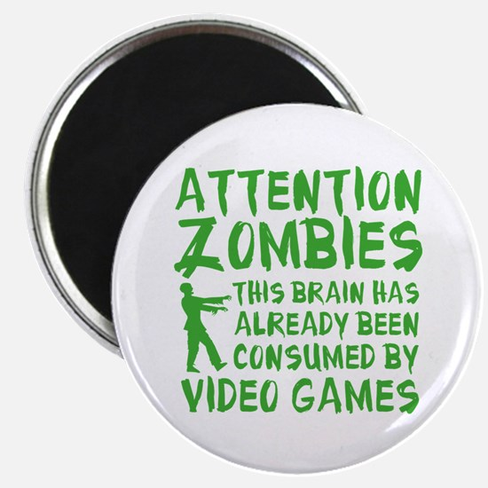 Attention Zombies Video Games Magnet