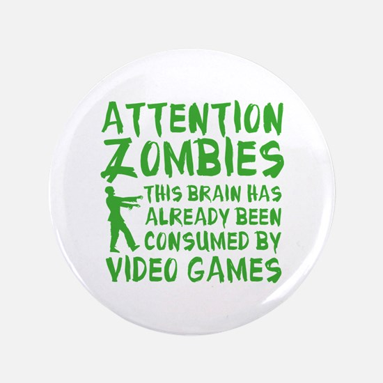 """Attention Zombies Video Games 3.5"""" Button (100 pac"""