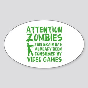 Attention Zombies Video Games Sticker (Oval)