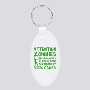 Attention Zombies Video Games Aluminum Oval Keycha