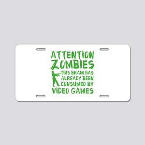Attention Zombies Video Games Aluminum License Pla