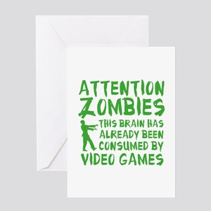 Attention Zombies Video Games Greeting Card